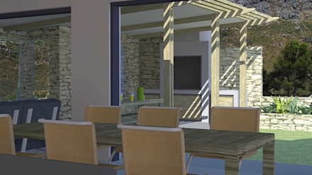 dining area with corresponding outdoor lounge: modern Dining room by tillmanecke:architecture