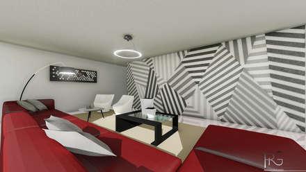 Sala: Salas de entretenimiento de estilo minimalista por PRG Arquitectura & Diseño