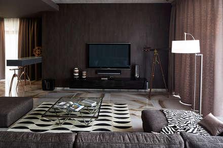 Вилла Grey-house: Гостиная в . Автор – SNOU project
