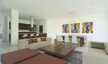 Sala - Comedor -Cocina: Salas de estilo moderno por Alejo Gallego /Diseño de espacios y visualización 3D