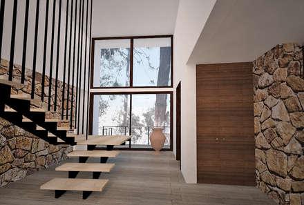 Hall de acceso: Pasillos, hall y escaleras de estilo  por FELIPE HARRIS ARQUITECTO