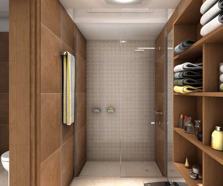 Ducha-Vestidor: Baños de estilo moderno por JIEarq
