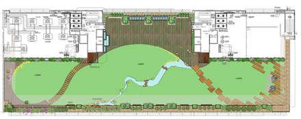 Terrace garden floor plan:  Commercial Spaces by Land Design landscape architects