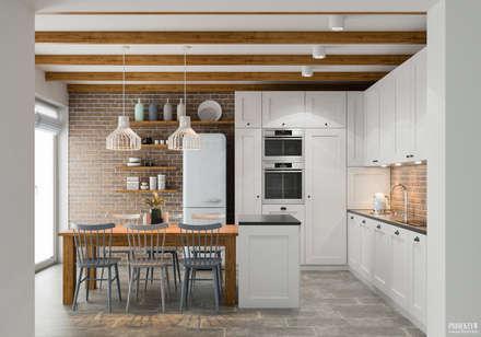 Projekt wnętrz domu jednorodzinnego w Krakowie: styl , w kategorii Kuchnia zaprojektowany przez PRØJEKTYW | Architektura Wnętrz & Design