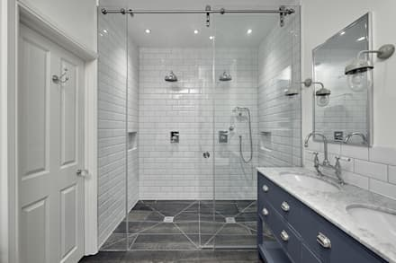 Double Shower: classic Bathroom by Adventure In Architecture