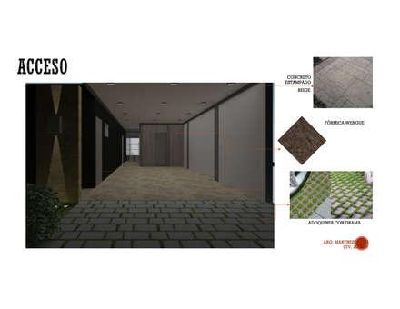 INTERIORISMO DE UNA VIVIENDA UNIFAMILIAR: Garajes y galpones de estilo moderno por Arq. Marynes Salas