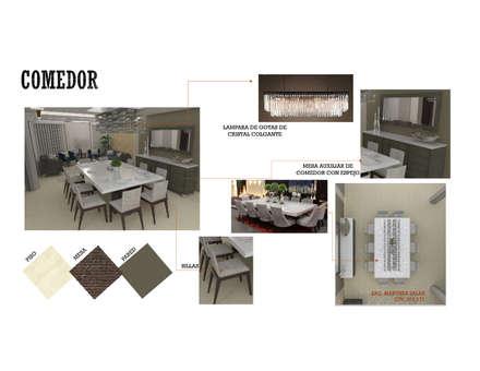 INTERIORISMO DE UNA VIVIENDA UNIFAMILIAR: Comedores de estilo moderno por Arq. Marynes Salas