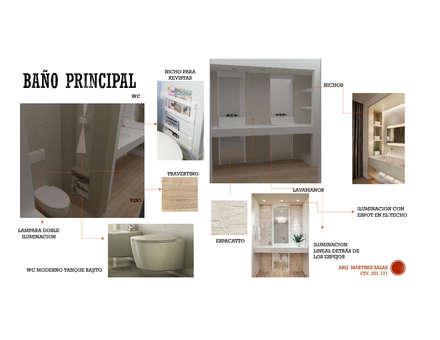 INTERIORISMO DE UNA VIVIENDA UNIFAMILIAR: Baños de estilo moderno por Arq. Marynes Salas