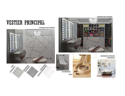 INTERIORISMO DE UNA VIVIENDA UNIFAMILIAR: Closets de estilo moderno por Arq. Marynes Salas
