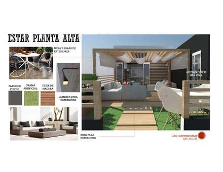 INTERIORISMO DE UNA VIVIENDA UNIFAMILIAR: Terrazas de estilo  por Arq. Marynes Salas
