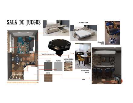 INTERIORISMO DE UNA VIVIENDA UNIFAMILIAR: Salas de entretenimiento de estilo moderno por Arq. Marynes Salas
