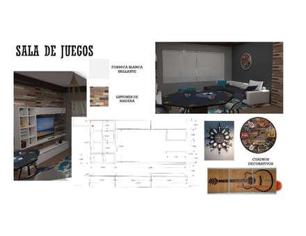 SALA DE JUEGOS : Salas de entretenimiento de estilo moderno por Arq. Marynes Salas