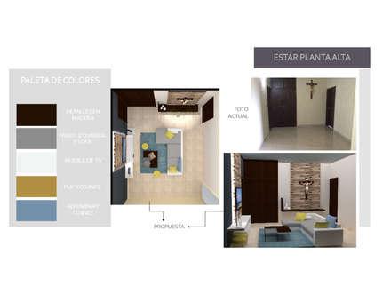 Vestibulo de Planta Alta: Pasillos y vestíbulos de estilo  por Arq. Marynes Salas