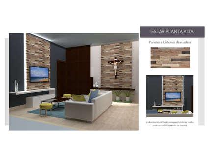 INTERIORISMO PARA UNA VIVIENDA UNIFAMILIAR DE 2 NIVELES: Pasillos y vestíbulos de estilo  por Arq. Marynes Salas