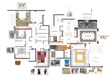 planta general de habilitacion y diseño de interiores: Paredes y pisos de estilo ecléctico por Thomas Löwenstein arquitecto