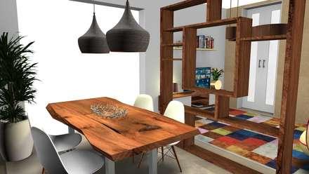 Sala Comum - Espaço Pequeno Pensado ao milímetro...: Salas de jantar escandinavas por As Marias - Decoração de Interiores (Flora Freitas)