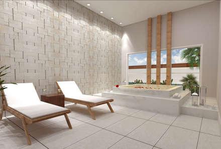 Spa de estilo moderno por Híbrida Arquitetura, Engenharia e Construção