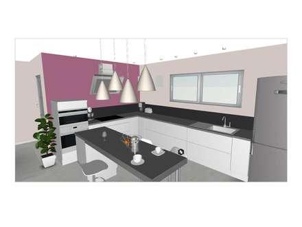 Aménagement du rez-de-chaussée d'une maison contemporaine: Cuisine de style de style Moderne par L'Oeil DeCo