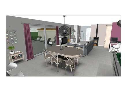 Aménagement du rez-de-chaussée d'une maison contemporaine: Salle à manger de style de style Moderne par L'Oeil DeCo