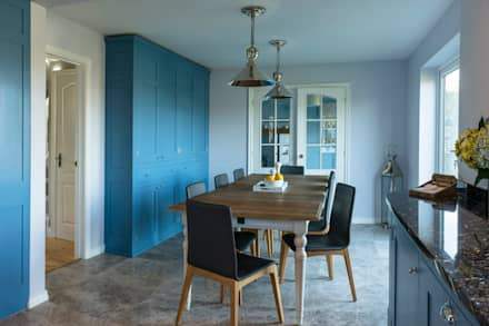 French farm house blue: country Dining room by Auspicious Furniture