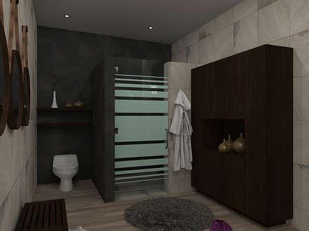 DUCHA Y WC BAÑO PRINCIPAL: Baños de estilo  por Residenza by Diego Bibbiani