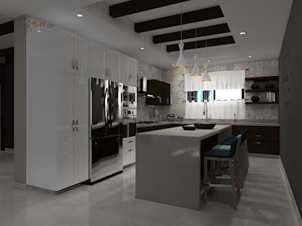 COCINA CON ISLA : Cocinas de estilo moderno por Residenza by Diego Bibbiani