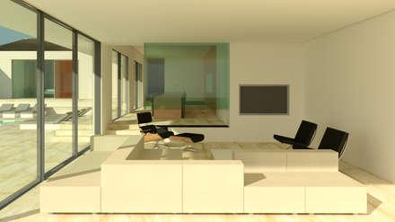 Villa Algarve Loule Portugal 37°10'N 7°59′W: moderne Woonkamer door MOTUS architects