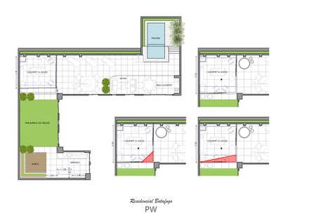 Planta baixa: Jardins minimalistas por Paula Werneck Arquitetura
