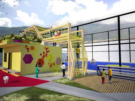 Area de juegos para niños terraza jardin y area taller: Terrazas de estilo  por Taller de Desarrollo Urbano