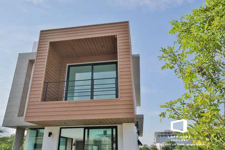 """บ้านเดี่ยว 2ชั้น สไตล์โมเดิร์นลอฟท์ """" ECO - LOFT """":  บ้านและที่อยู่อาศัย by LOFT HOME (THAILAND) Co.,Ltd"""