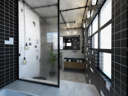 SUÍTE ZION: Banheiros industriais por TÉRREO arquitetos