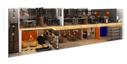 OFICINAS DE ADUANAS _ LACOSTE ASOCIADOS: Oficinas y Tiendas de estilo  por tresarquitectos