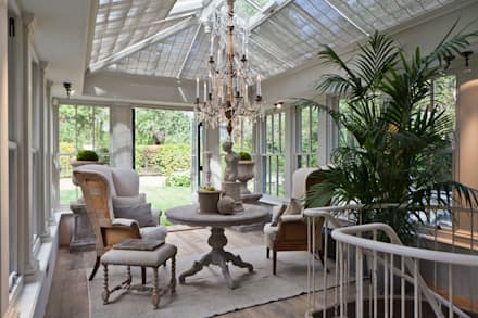 Dual Level Orangery and Rooflights Transform a London Townhouse: eclectic Conservatory by Vale Garden Houses