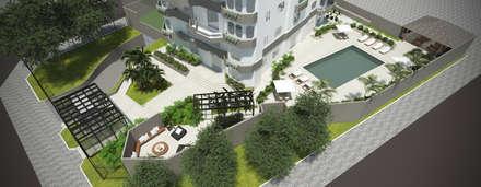 Vista aérea da área externa: Jardins minimalistas por Cecília Mesquita Arquitetura