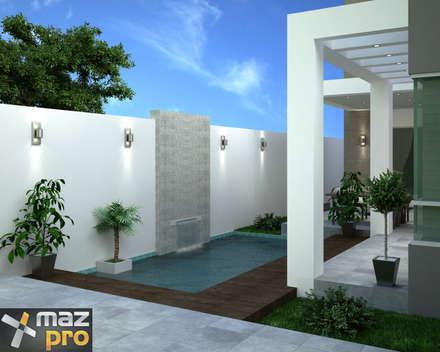 ALBERCA: Albercas de estilo moderno por Mazpro Arquitectura