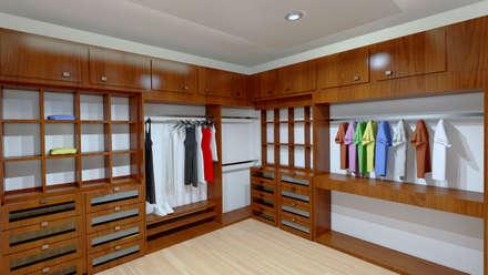 renders interiores vestidores y closets de estilo moderno por