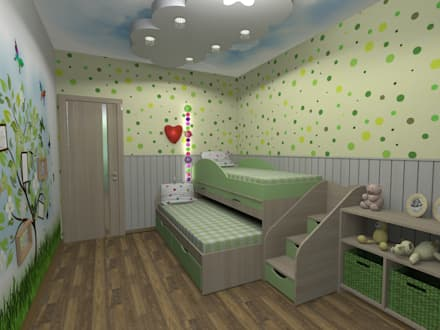 Детская комната для двух маленьких принцесс площадью 14 м2: Детские комнаты в . Автор – ARTWAY центр профессиональных дизайнеров и строителей