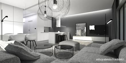 DOM POKAZOWY minimal: styl , w kategorii Salon zaprojektowany przez Anita Gradomska & Architekci - Interiors