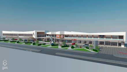 Propuesta Strip Center Pedro Fontova, Huechuraba: Centros Comerciales de estilo  por Gen Arquitectura & Diseño