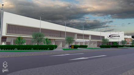 Propuesta Strip Center Pedro Fontova, Huechuraba: Espacios comerciales de estilo  por Gen Arquitectura & Diseño