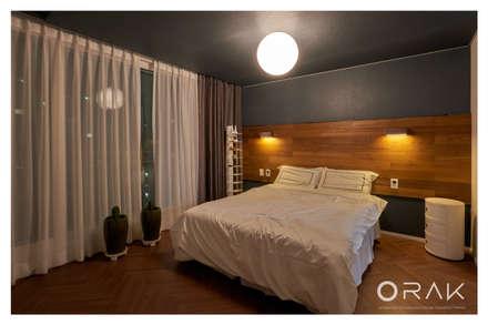 사당동 우성아파트 2차 / 35평형 아파트 인테리어: 오락디자인의  침실