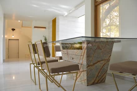 Architect's Office and Home @ Sarvodaya First Floor: minimalistic Dining room by prarthit shah architects