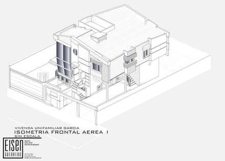Isometría Frontal-Norte: Casas de estilo escandinavo por Eisen Arquitecto