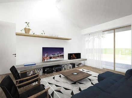 HOUSE FB: Soggiorno in stile in stile Minimalista di Didonè Comacchio Architects