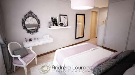 ห้องนอน by Andreia Louraço - Designer de Interiores (Contacto: atelier.andreialouraco@gmail.com)