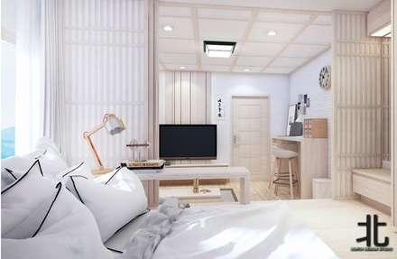 คอนโดสไตล์ญี่ปุ่น:  ห้องนอน by เหนือ ดีไซน์ สตูดิโอ (North Design Studio)