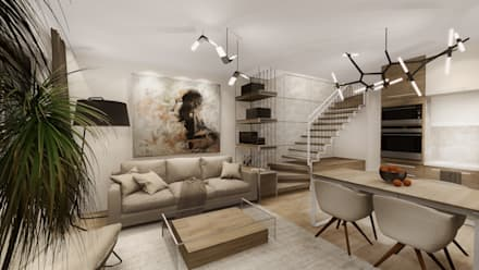 : modern Living room by KOKON zespół architektoniczny