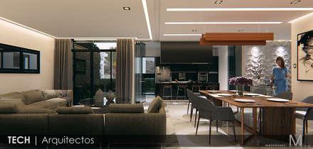 Render--- para venta---casa habitación en  Pachuca Hidalgo.: Comedores de estilo moderno por MIRARQPERSPECTIVAS