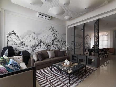 富「村」山居Dwelling in the Fuchun Mountains:  客廳 by Glocal Architecture Office (G.A.O) 吳宗憲建築師事務所/安藤國際室內裝修工程有限公司
