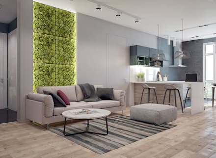 رہنے کا کمرہ  by Interior designers Pavel and Svetlana Alekseeva